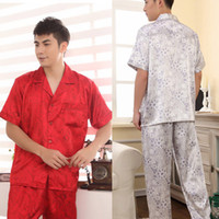 Regular Men Robe Mens Imitated Silk Sleepwear Robes Short Sleeve Shirts Pants Trousers Pajama Set JX0257 Free&Drop shipping