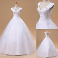 Wholesale Spring Cheap Ready to Wear Wedding Dresses Lace Appliqus Sheer Beaded Cap Sleeve A line Beach Garden Floor Length Bridal Gowns In Stock