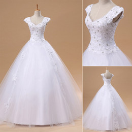 Wholesale Cheap Ready to Wear Wedding Dresses Lace Appliqus Sheer Beaded Cap Sleeve A line Beach Garden Floor Length Bridal Party Gowns In Stock