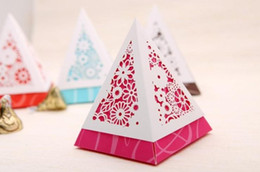 Wholesale 300pcs Special Pyramid Shape Flower style Wedding candy box and baby shower favors H121