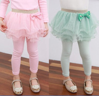 Wholesale 2014 Spring Autumn New clothes Girls fine gauze bowknot Skirt Pants Children Leggings Kids Tights Pants size TX480