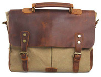 Wholesale 2014 New Hot Vintage Retro Euro Business Canvas Leather Briefcase Shoulder Bag Fashion Leisure Men and Women Messenger Bags