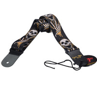 Wholesale New Skull Pattern adjustable print Genuine leather ends for Acoustic Guitar Strap bass MU0390
