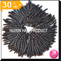 European Hair Kinky curly HUIXIN HAIR PRODUCTS Malaysian Kinky Curly Human Hair Weave Extension Brazilian 100% Virgin 4 Bundles lot Can Dye and Bleach Queen Hair Extension A