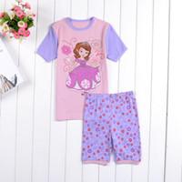 Girl Summer 2Y 3Y 4Y 5Y 6Y 7Y 2014 Summer Kids Wear Girls Sofia Pajamas sets Children's Princess Pyjamas Family Clothing set Baby Sleepwears