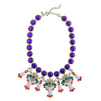 Chokers Fashion Women's Retro Crystal Luxury Full Diamond Colorful Flower Pendant Choker Necklace X1403251