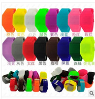 Wholesale Square Silicon Watches - Comfortable Colourful Touch Felling Screen Watch Jelly Candy Ultra Thin Silicone Silicon Digital LED Watches For Men Women Free DHL Shipping