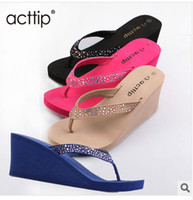 Women Wedge EVA Free shipping acttip wedges slippers Women flip flops shoes women sandals (size35-39) black apricot blue roseo red height 5cm item576