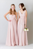 Reference Images Ruched Sleeveless Mix Wholesale High Quality Bridesmaid Dresses Cheap 2014 Strapless and V-Neck Ruched Bodice A-Line Long Girls' Formal Party Gowns Pink