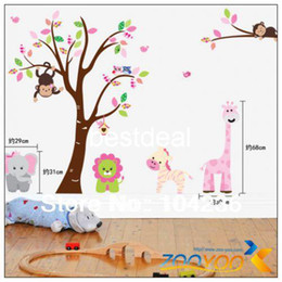 Wholesale 220 cm PVC Wall Sticker Forest Animals Playing Super large monkey Trees kids room Wall Decal Manufacturer ZY
