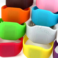 Wholesale 10pcs Hot Selling Colourful Touch Felling Screen Watch Jelly Candy Ultra Thin Soft Silicone Silicon Digital LED Watches For Men Women DHL