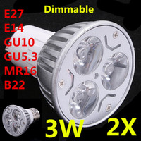 Spotlight LED 3W 2X LED Lamps 3w spotlights bulbs 220v 110v 12v E27 E14 GU10 GU5.3 B22 MR16 Dimmable Downlight Freeshipping