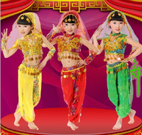 indian clothes - 2014 Sequins Children Belly Dance Clothing Summer Costumes Performance Indian Stage Suit MYFS MY