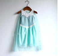 Wholesale in stock frozen dress girl summer dresses cotton yarn cloak fashion lace blue princess Elsa dress baby amp kids clothing QQ