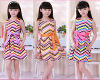 Wholesale Fashion Koran Design Summer Young Children Girls Colorful Wavy Plaid Vest Dresses Kids Rainbow Sleeveless Party Dress With Big BowknotI0654