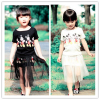 Wholesale 2 Set Children Cartoon Skirt Set Girl s Cartoon Short T Shirt Gauze Mini Skirt Kids Skirt Casual Set Set S0509