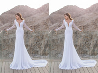 2014 Fashion Mermaid Trumpet Wedding Dresses V- Neck Chapel T...