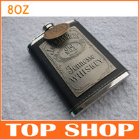 Wholesale Engraved Hip Flask OZ Stainless Steel Flagon Camping Vintage Leather wrapped Jackdanices Patch OZ Wine Pot JJ0076