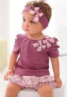 Girl Summer Short New 2014 Summer Baby Girls Cute Bowknot Solid Short Sleeve Tee Shirts + Flowers Shorts + Headbands 3pcs Outfits Children Sets I0657
