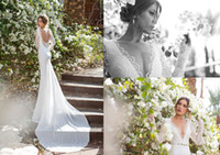 2014Modern Sheath Column Wedding Dresses V- Neck Chapel Train...