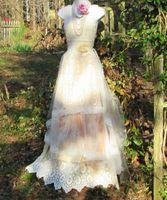Trumpet/Mermaid Reference Images Sweetheart Boho wedding dress cream ivory lace crochet tassels ecru vintage bride outdoor romantic small medium by vintage opulence