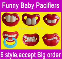 Wholesale 30ps Mixed designs Fast ship Funny Soother Nipple Nuk Billy Teeth Baby Pacifiers Pacifier funny Photo tool OPP package
