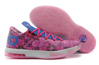 Mid Cut Women Summer 2014 New arrive Wholesale KD6 Basketball shoe KD 6 Honors Aunt Pearl with the Floral Light Arctic Pink running shoes US Size 5.5-8.5
