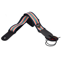 acoustic bass guitar strings - Colour String Genuine leather ends Strap Adjustable Acoustic Guitar Strap bass WITH PICK HOLDER MU0403