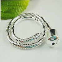 Link, Chain South American Unisex Newest 925 Silver European Style Bead charm bracelet 7.0inch~8.5inch 3mm Snake Chains Bracelet 10pcs Mixed Size