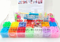 Charm Bracelets Unisex Fashion 24sets family rainbow loom lit silicone bands DIY bracelet 4400 solid glow in the dark rubber bands 96clips 40beads 18charms