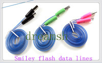 Wholesale Colorful FT New arrival USB Visible Charger Cable Noodle Shaped LED Light Up Sync Data Line Cord amp USB Charge Cable Flowing Luminous Data