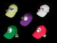 Wholesale Super Mario Bros Baseball Hat Caps Red Blue Purple Yellow White Mario Luigi Hats colors