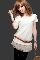 Women Cotton Lace lace patchwork chiffon with lace crochet camisa feminine dudalina white shirt women 2013 summer short sleeve top