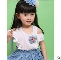 Wholesale 2014 Girl Short Sleeves Dresses Lovely Hollow Sleeves Children Dresses T shirt with Jeans Dresses