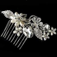 Cheap Free Shipping Bridal Hair Accessories Crystal Rhinestone Imitate Pearl Hair Comb Silver Jewelry Wedding Hair Tiara Comb Hair Clip 3078SNHC