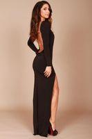 2014 sem encosto preto vestidos de noite alta pescoço mangas compridas divisão lado sereia vestidos de baile apertados vestidos de festa