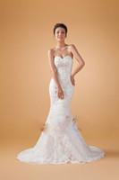 Wholesale 2014 New Design Mermaid Strapless Lace Wedding Dresses Slim Fit with A Cappa Princess Bride Wedding Dresses Prom Party Dresses