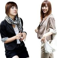 Jackets Women Cotton fall 2013 women designer fashion ladies business suits plaid sleeve casual slimming korean style black blazers for women