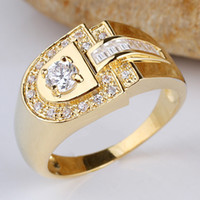 Wholesale men D shape K Gold Filled White Topaz Sterling Silver Ring Support Customization R114