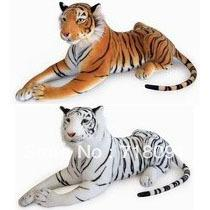 Wholesale 35cm PC Emulational Toy Plush Stuffed Life Like Tiger Lying Posture Artificial Animal Brown White Color Drop