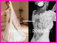 Cheap Real Model Long Sleeve Low-Cut Lace See Through Bridal Wedding Dress Gowns Vestidos do Novia W2302