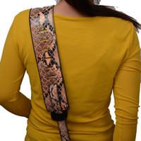 Wholesale New Brown BOA Crocodile leather inch Adjustable Acoustic Guitar Strap bass WITH PICK HOLDER
