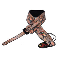 acoustic guitar holder - New Brown BOA Crocodile leather inch Adjustable Acoustic Guitar Strap bass WITH PICK HOLDER MU0418