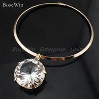 Chokers fashion jewelry usa - 2013 European and USA Style Fashion Alloy Torques mmX40mm Glass Crystal Bib Necklace Funky Jewelry CE1218