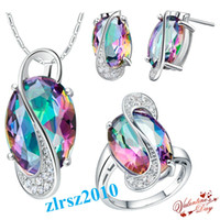 Wholesale Six Colors Includes Chain Inches Large Crystal New Style K White Gold Crystal Sterling Silver Jewelry Sets Necklaces Rings Earrings