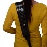 Wholesale New Black Crocodile design inch adjustable PU leather Acoustic Guitar Strap bass with pick holder MU0422