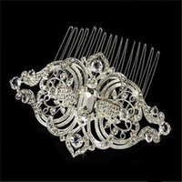 Wholesale Exquisite Royal Designer Vintage Combs Tiara Clear Rhinestone Crystal Silver Pageant Wedding Bridal Tiara Hair Combs Clip Jewelry SNHC