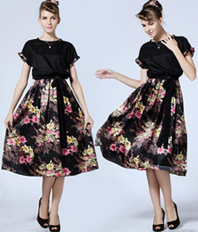 Elegance 2015 Dress Women Lace Collar Short Sleeve Silk Satin Dress Plus Size Lady Knee-Length Floral Print Beach Dress