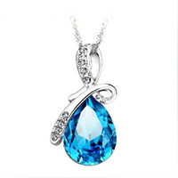 Wholesale High Quality Austria Crystal Angel Tear Pendant Necklace Platinum Plated Women Jewelry