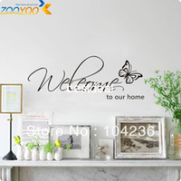 Home - ZY8152 Butterfly Welcome to Our Home Vinyl Wall Art Decals Quotes Saying Home Decor Christmas Wall Sticker